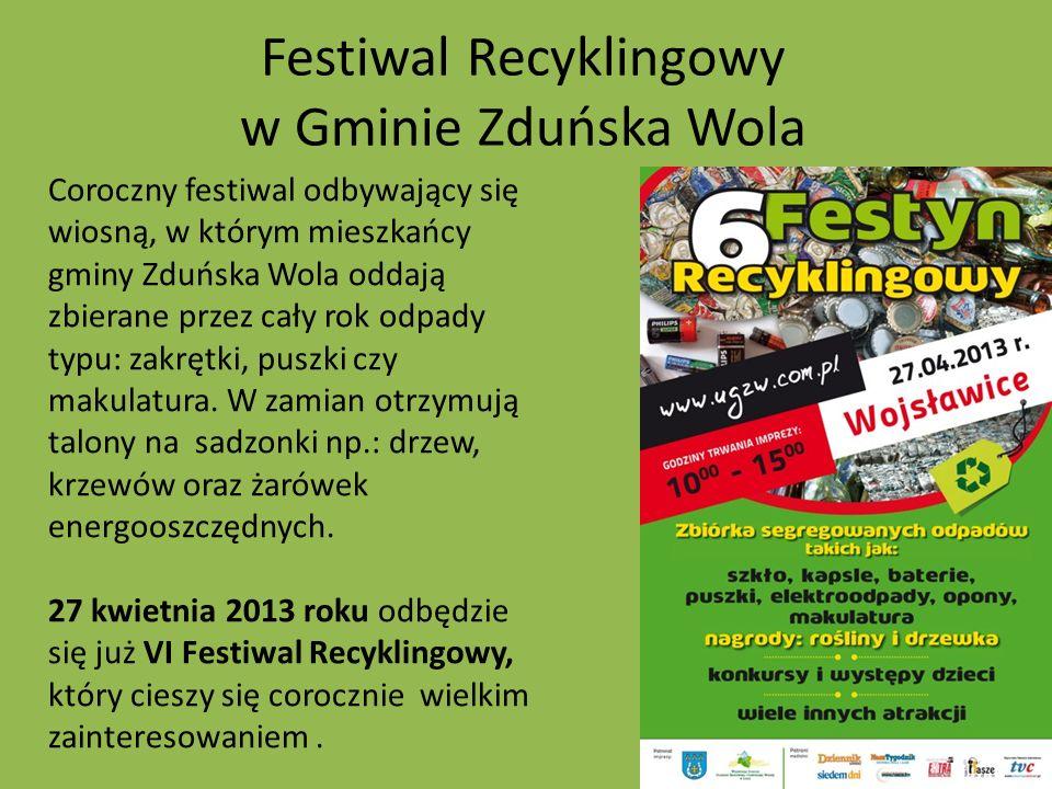 Festiwal Recyklingowy w Gminie Zduńska Wola Coroczny festiwal odbywający się wiosną, w którym mieszkańcy gminy Zduńska Wola oddają zbierane przez cały