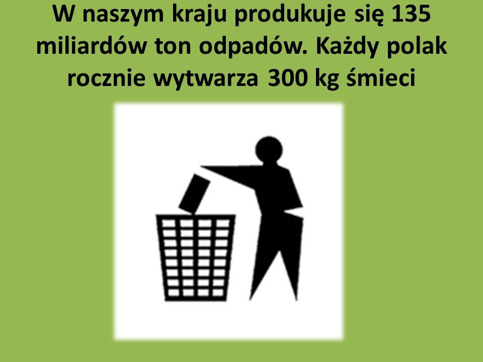 W naszym kraju produkuje się 135 miliardów ton odpadów. Każdy polak rocznie wytwarza 300 kg śmieci