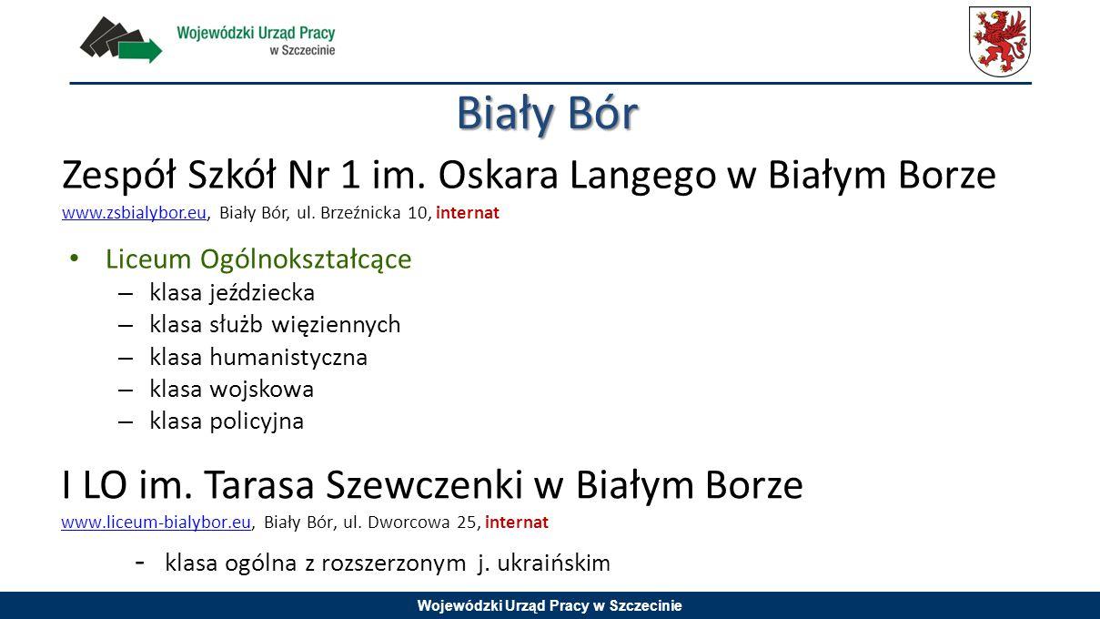 Wojewódzki Urząd Pracy w Szczecinie Zespół Szkół Nr 1 im. Oskara Langego w Białym Borze www.zsbialybor.eu, Biały Bór, ul. Brzeźnicka 10, internat www.