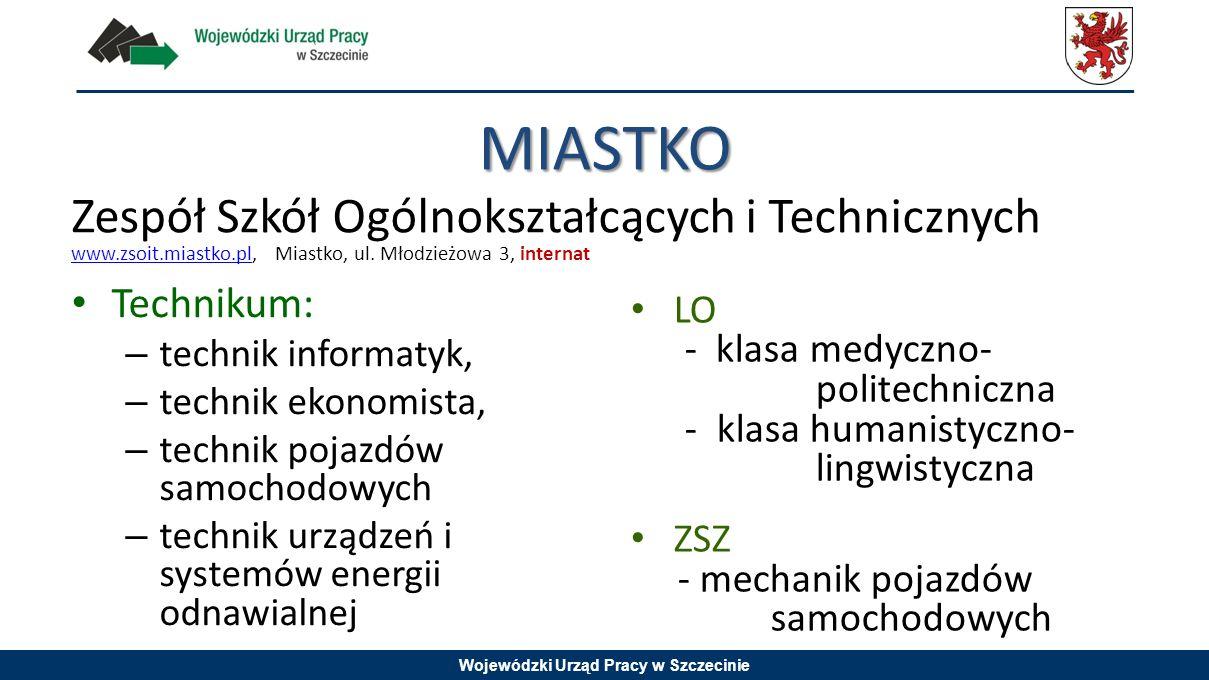 Wojewódzki Urząd Pracy w Szczecinie MIASTKO Technikum: – technik informatyk, – technik ekonomista, – technik pojazdów samochodowych – technik urządzeń