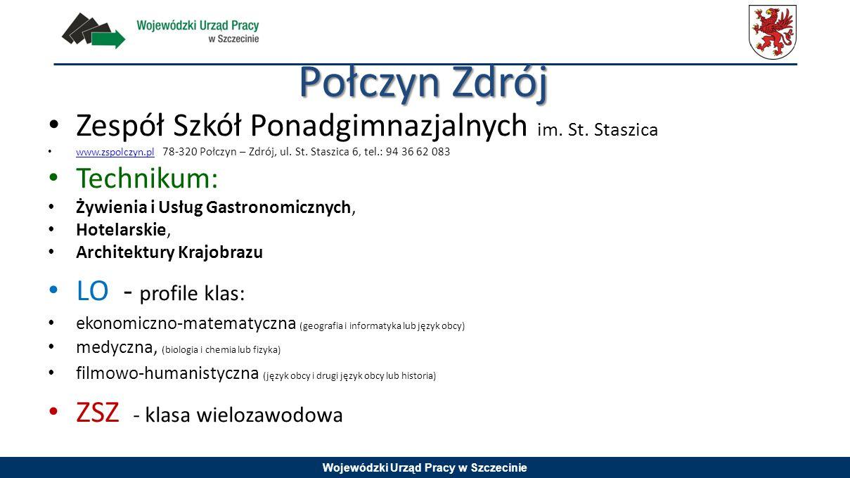 Wojewódzki Urząd Pracy w Szczecinie Połczyn Zdrój Zespół Szkół Ponadgimnazjalnych im. St. Staszica www.zspolczyn.pl 78-320 Połczyn – Zdrój, ul. St. St