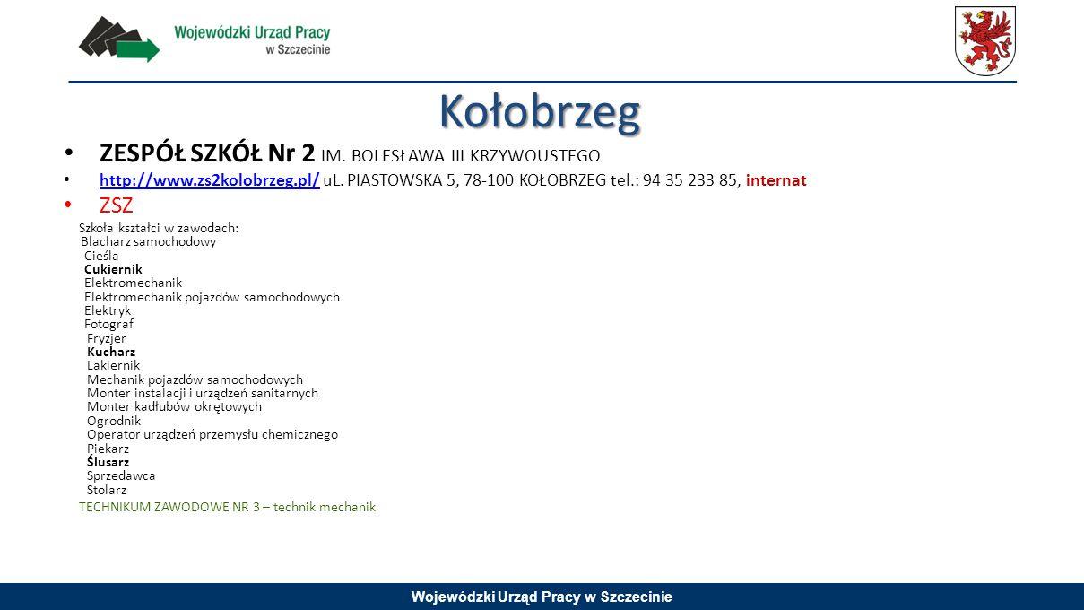 Wojewódzki Urząd Pracy w Szczecinie ZESPÓŁ SZKÓŁ Nr 2 IM. BOLESŁAWA III KRZYWOUSTEGO http://www.zs2kolobrzeg.pl/ uL. PIASTOWSKA 5, 78-100 KOŁOBRZEG te