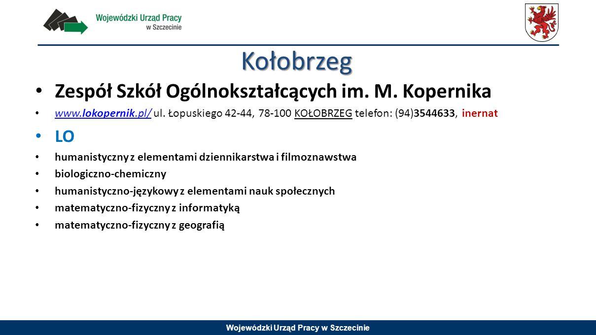 Wojewódzki Urząd Pracy w Szczecinie Zespół Szkół Ogólnokształcących im. M. Kopernika www.lokopernik.pl/ ul. Łopuskiego 42-44, 78-100 KOŁOBRZEG telefon