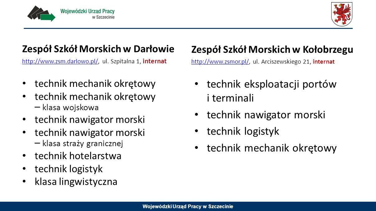 Wojewódzki Urząd Pracy w Szczecinie Zespół Szkół Morskich w Darłowie http://www.zsm.darlowo.pl/http://www.zsm.darlowo.pl/, ul. Szpitalna 1, internat t