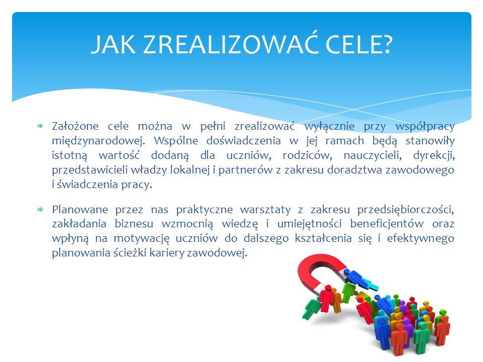  Założone cele można w pełni zrealizować wyłącznie przy współpracy międzynarodowej. Wspólne doświadczenia w jej ramach będą stanowiły istotną wartość