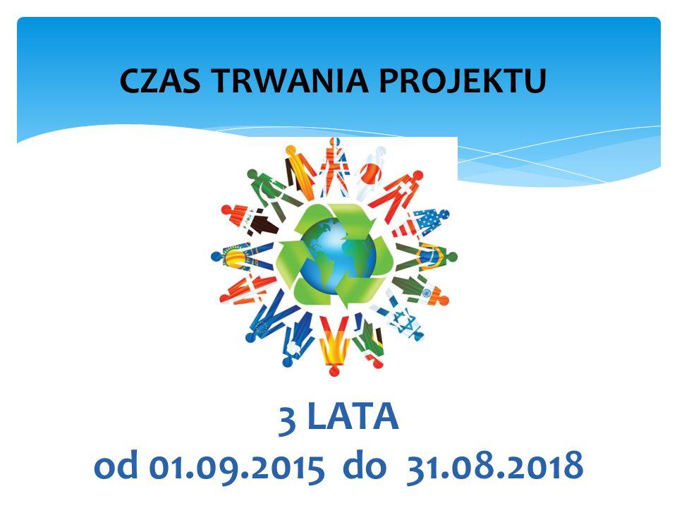 3 LATA od 01.09.2015 do 31.08.2018 CZAS TRWANIA PROJEKTU