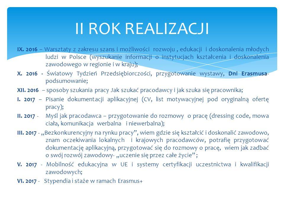 IX. 2016 – Warsztaty z zakresu szans i możliwości rozwoju, edukacji i doskonalenia młodych ludzi w Polsce (wyszukanie informacji o instytucjach kształ