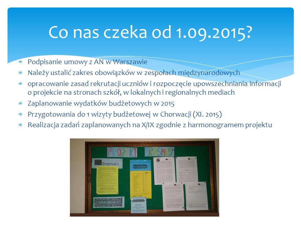  Podpisanie umowy z AN w Warszawie  Należy ustalić zakres obowiązków w zespołach międzynarodowych  opracowanie zasad rekrutacji uczniów i rozpoczęcie upowszechniania informacji o projekcie na stronach szkół, w lokalnych i regionalnych mediach  Zaplanowanie wydatków budżetowych w 2015  Przygotowania do 1 wizyty budżetowej w Chorwacji (XI.