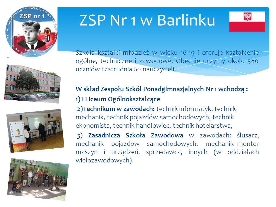 ZSP Nr 1 w Barlinku Szkoła kształci młodzież w wieku 16-19 i oferuje kształcenie ogólne, techniczne i zawodowe. Obecnie uczymy około 580 uczniów i zat