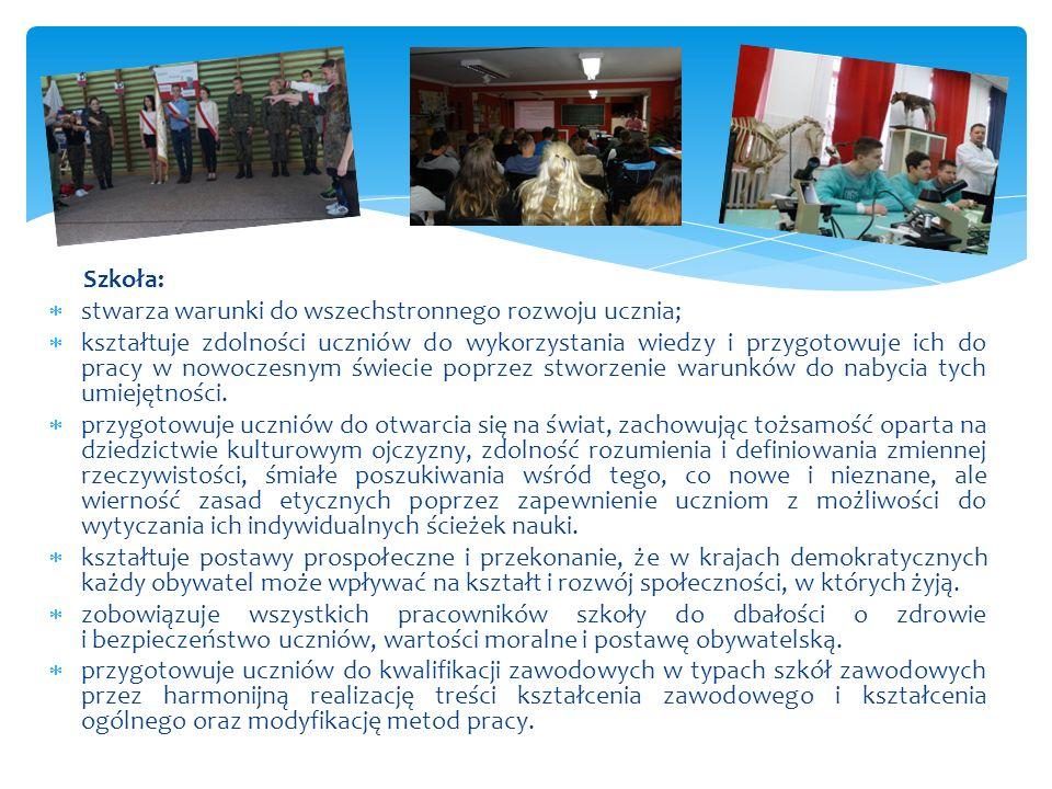 Szkoła:  stwarza warunki do wszechstronnego rozwoju ucznia;  kształtuje zdolności uczniów do wykorzystania wiedzy i przygotowuje ich do pracy w nowo
