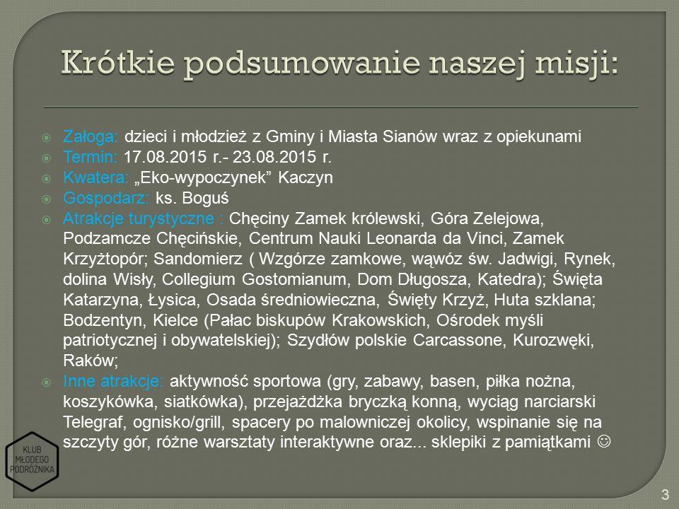  Załoga: dzieci i młodzież z Gminy i Miasta Sianów wraz z opiekunami  Termin: 17.08.2015 r.- 23.08.2015 r.