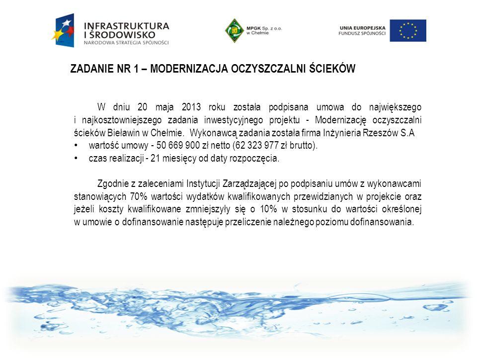 W dniu 20 maja 2013 roku została podpisana umowa do największego i najkosztowniejszego zadania inwestycyjnego projektu - Modernizację oczyszczalni ści
