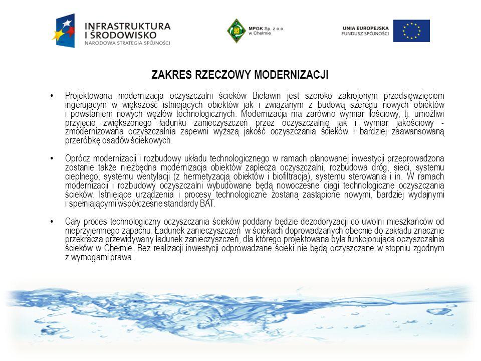 ZAKRES RZECZOWY MODERNIZACJI Projektowana modernizacja oczyszczalni ścieków Bieławin jest szeroko zakrojonym przedsięwzięciem ingerującym w większość