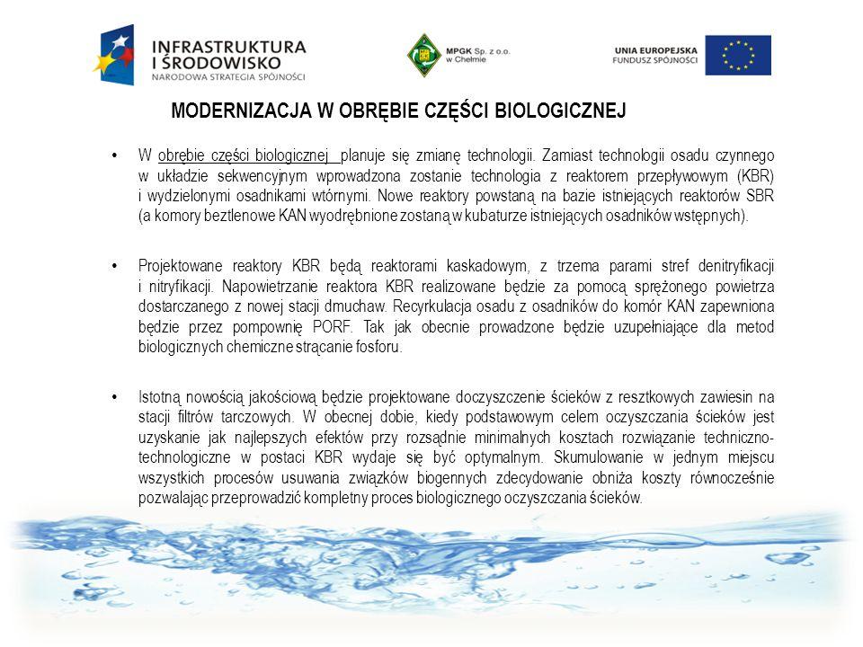 MODERNIZACJA W OBRĘBIE CZĘŚCI BIOLOGICZNEJ W obrębie części biologicznej planuje się zmianę technologii. Zamiast technologii osadu czynnego w układzie