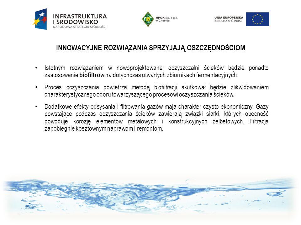 INNOWACYJNE ROZWIĄZANIA SPRZYJAJĄ OSZCZĘDNOŚCIOM Istotnym rozwiązaniem w nowoprojektowanej oczyszczalni ścieków będzie ponadto zastosowanie biofiltrów