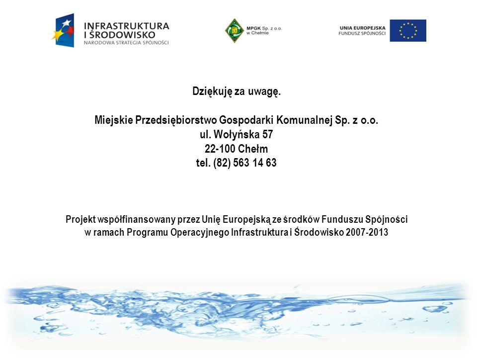 Dziękuję za uwagę. Miejskie Przedsiębiorstwo Gospodarki Komunalnej Sp. z o.o. ul. Wołyńska 57 22-100 Chełm tel. (82) 563 14 63 Projekt współfinansowan