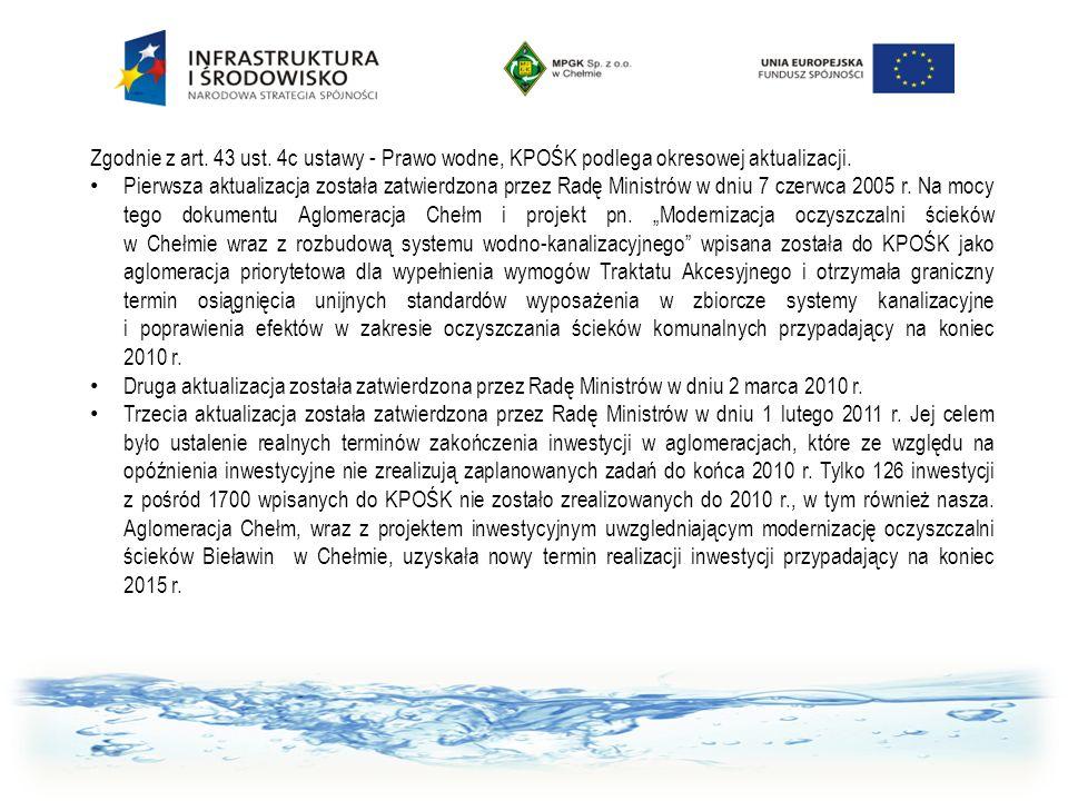 Zgodnie z art. 43 ust. 4c ustawy - Prawo wodne, KPOŚK podlega okresowej aktualizacji. Pierwsza aktualizacja została zatwierdzona przez Radę Ministrów