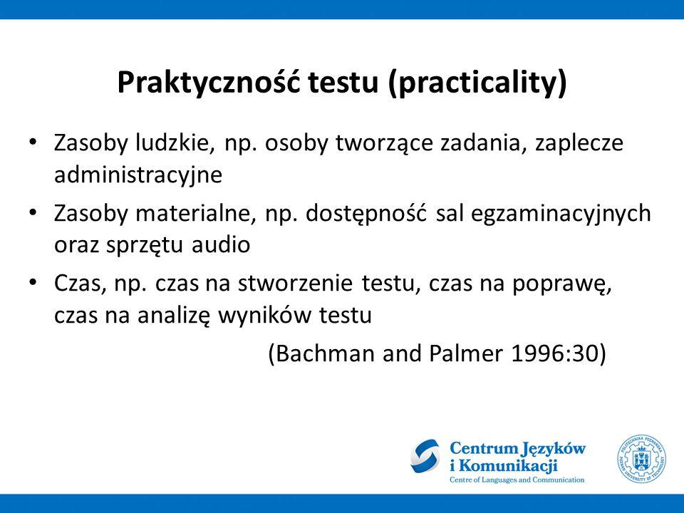 Praktyczność testu (practicality) Zasoby ludzkie, np.