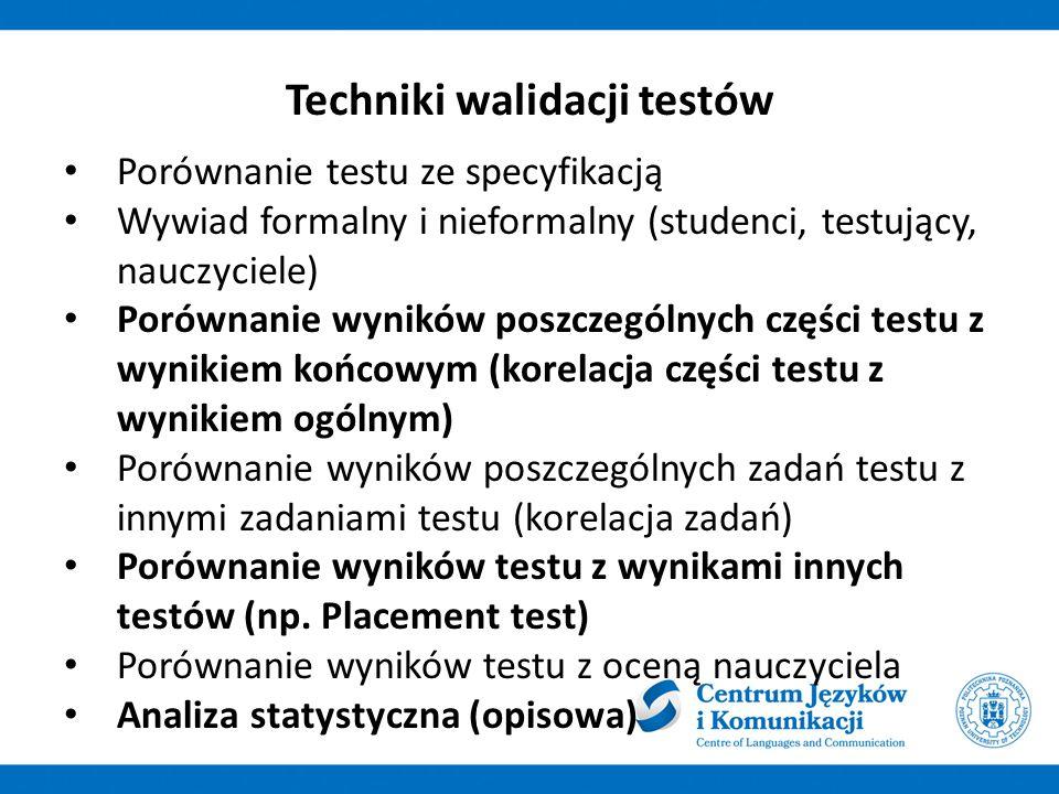 Porównanie testu ze specyfikacją Wywiad formalny i nieformalny (studenci, testujący, nauczyciele) Porównanie wyników poszczególnych części testu z wynikiem końcowym (korelacja części testu z wynikiem ogólnym) Porównanie wyników poszczególnych zadań testu z innymi zadaniami testu (korelacja zadań) Porównanie wyników testu z wynikami innych testów (np.