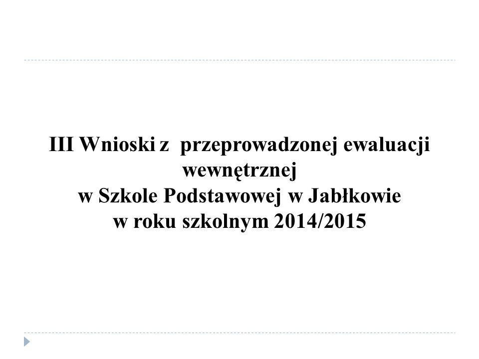III Wnioski z przeprowadzonej ewaluacji wewnętrznej w Szkole Podstawowej w Jabłkowie w roku szkolnym 2014/2015