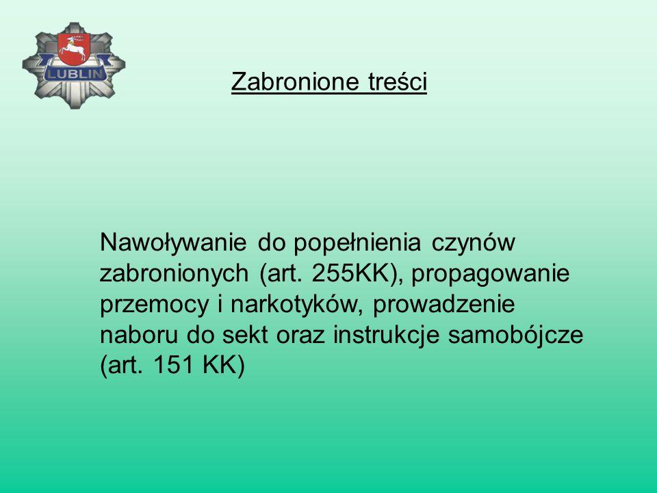 Przesyłanie bezprawnych gróźb oraz fałszywe alarmy bombowe (art. 190 KK) Zabronione treści