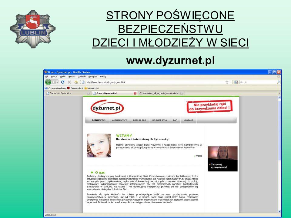 STRONY POŚWIĘCONE BEZPIECZEŃSTWU DZIECI I MŁODZIEŻY W SIECI www.sieciaki.pl