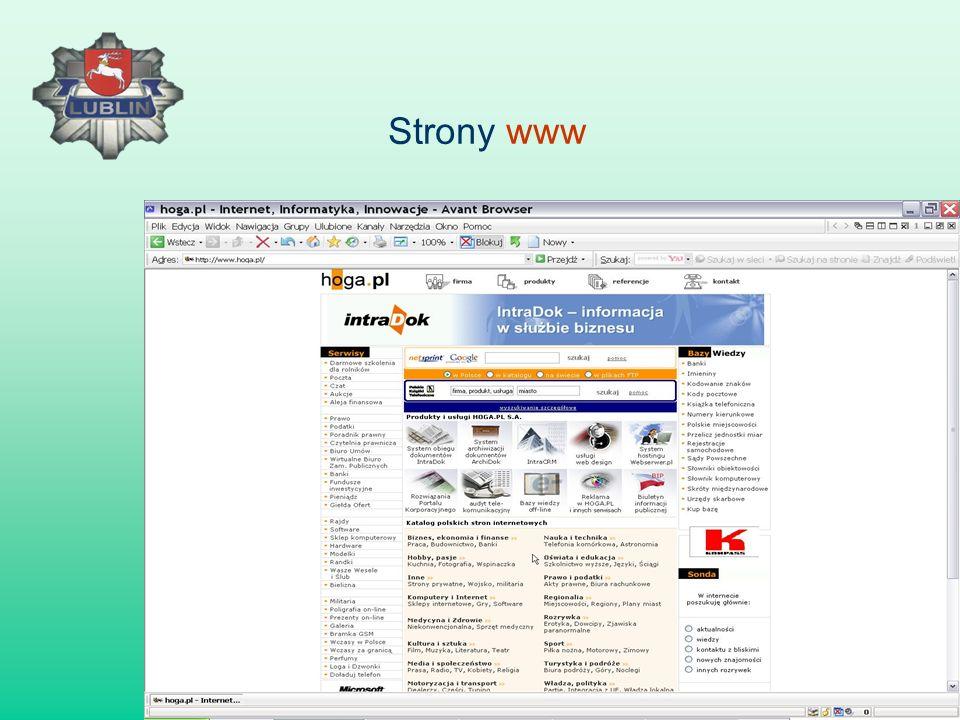 a.Strony www, b. Poczta elektroniczna e-mail, c. Grupy dyskusyjne – newsgroup, d.