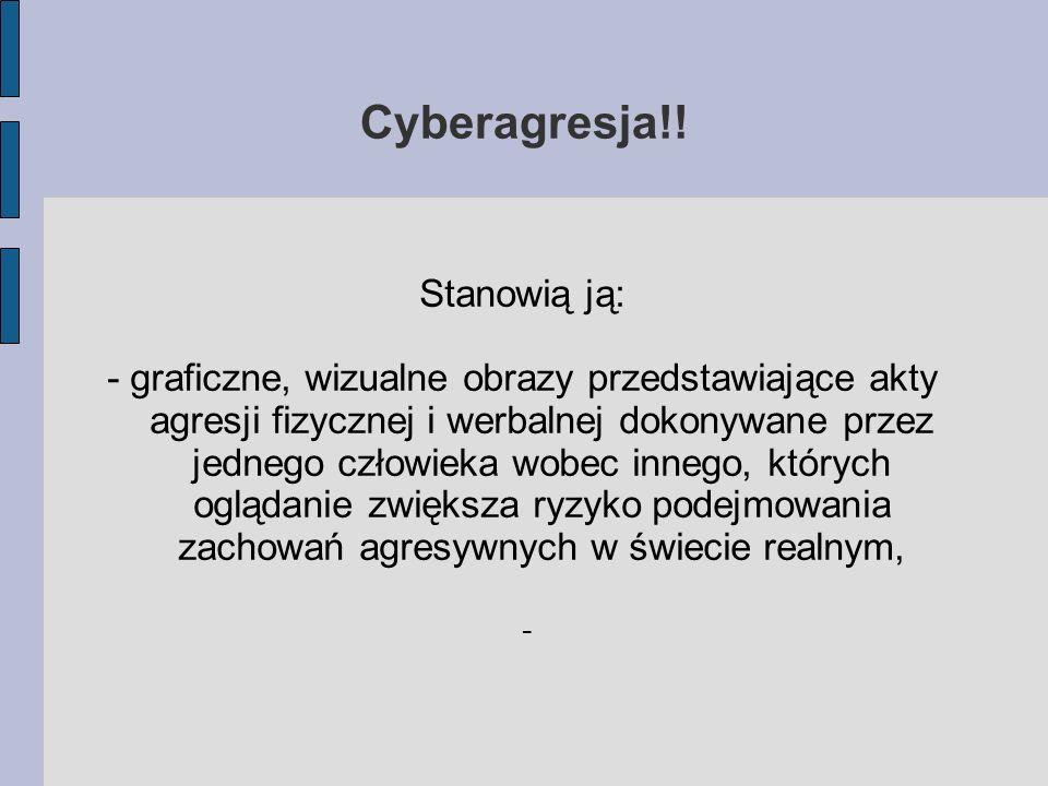 Cyberagresja!! Stanowią ją: - graficzne, wizualne obrazy przedstawiające akty agresji fizycznej i werbalnej dokonywane przez jednego człowieka wobec i