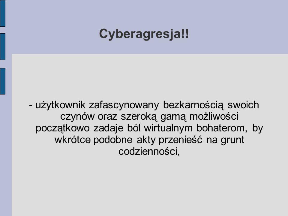 Cyberagresja!! - użytkownik zafascynowany bezkarnością swoich czynów oraz szeroką gamą możliwości początkowo zadaje ból wirtualnym bohaterom, by wkrót
