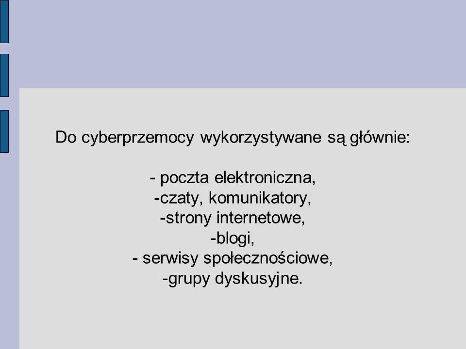 Do cyberprzemocy wykorzystywane są głównie: - poczta elektroniczna, -czaty, komunikatory, -strony internetowe, -blogi, - serwisy społecznościowe, -grupy dyskusyjne.