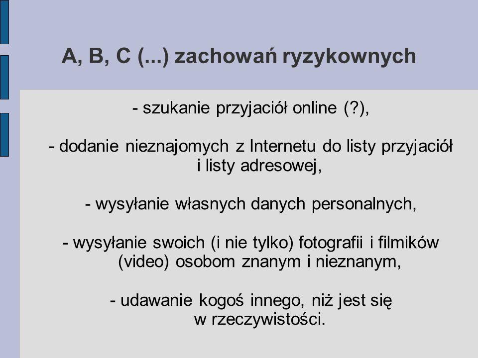 A, B, C (...) zachowań ryzykownych - szukanie przyjaciół online (?), - dodanie nieznajomych z Internetu do listy przyjaciół i listy adresowej, - wysył