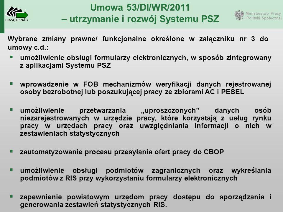 Ministerstwo Pracy i Polityki Społecznej URZĄD PRACY Umowa 53/DI/WR/2011 – utrzymanie i rozwój Systemu PSZ  umożliwienie obsługi formularzy elektroni