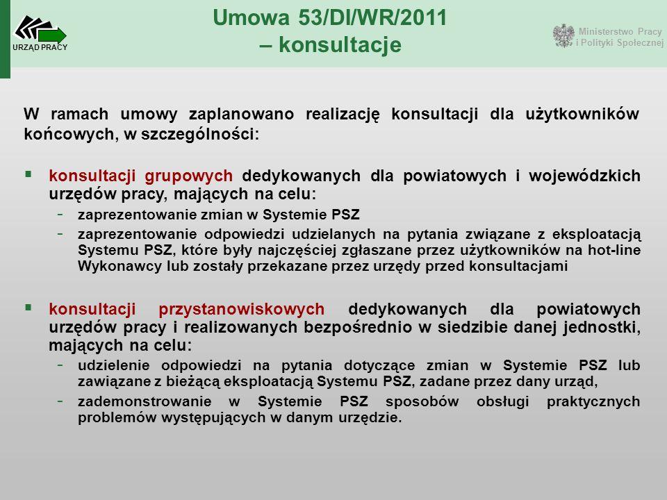 Ministerstwo Pracy i Polityki Społecznej URZĄD PRACY Umowa 53/DI/WR/2011 – konsultacje W ramach umowy zaplanowano realizację konsultacji dla użytkowni