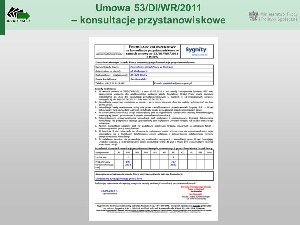 Ministerstwo Pracy i Polityki Społecznej URZĄD PRACY Umowa 53/DI/WR/2011 – konsultacje przystanowiskowe
