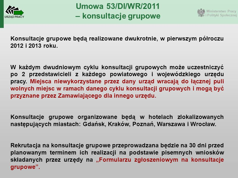 Ministerstwo Pracy i Polityki Społecznej URZĄD PRACY Umowa 53/DI/WR/2011 – konsultacje grupowe Konsultacje grupowe będą realizowane dwukrotnie, w pier