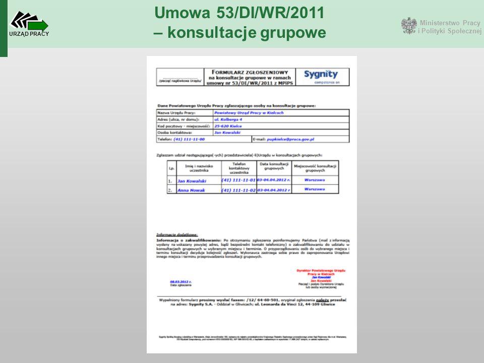 Ministerstwo Pracy i Polityki Społecznej URZĄD PRACY Umowa 53/DI/WR/2011 – konsultacje grupowe