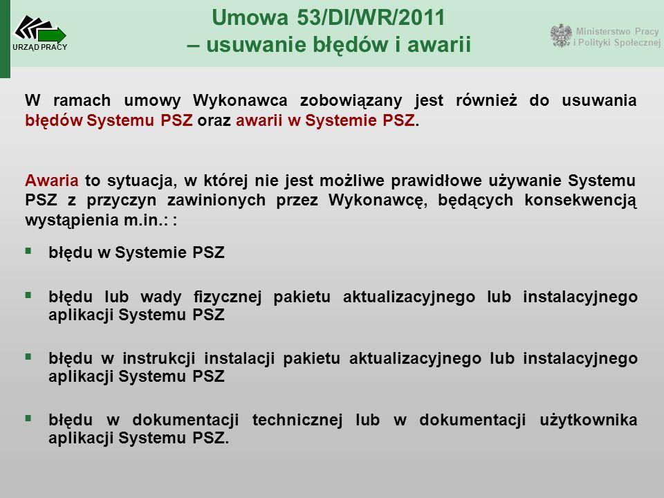 Ministerstwo Pracy i Polityki Społecznej URZĄD PRACY Umowa 53/DI/WR/2011 – usuwanie błędów i awarii W ramach umowy Wykonawca zobowiązany jest również