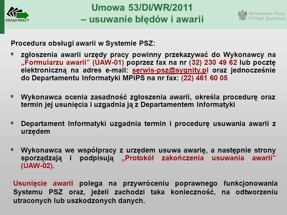 Ministerstwo Pracy i Polityki Społecznej URZĄD PRACY Umowa 53/DI/WR/2011 – usuwanie błędów i awarii Procedura obsługi awarii w Systemie PSZ:  zgłosze