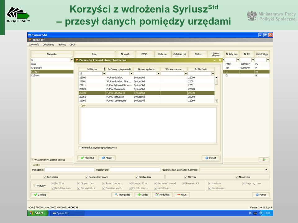 Ministerstwo Pracy i Polityki Społecznej URZĄD PRACY Korzyści z wdrożenia Syriusz Std – przesył danych pomiędzy urzędami