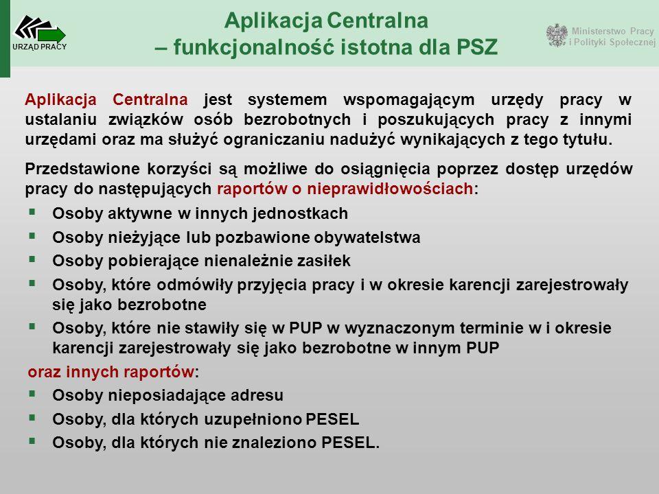 Ministerstwo Pracy i Polityki Społecznej URZĄD PRACY Aplikacja Centralna – funkcjonalność istotna dla PSZ Aplikacja Centralna jest systemem wspomagają