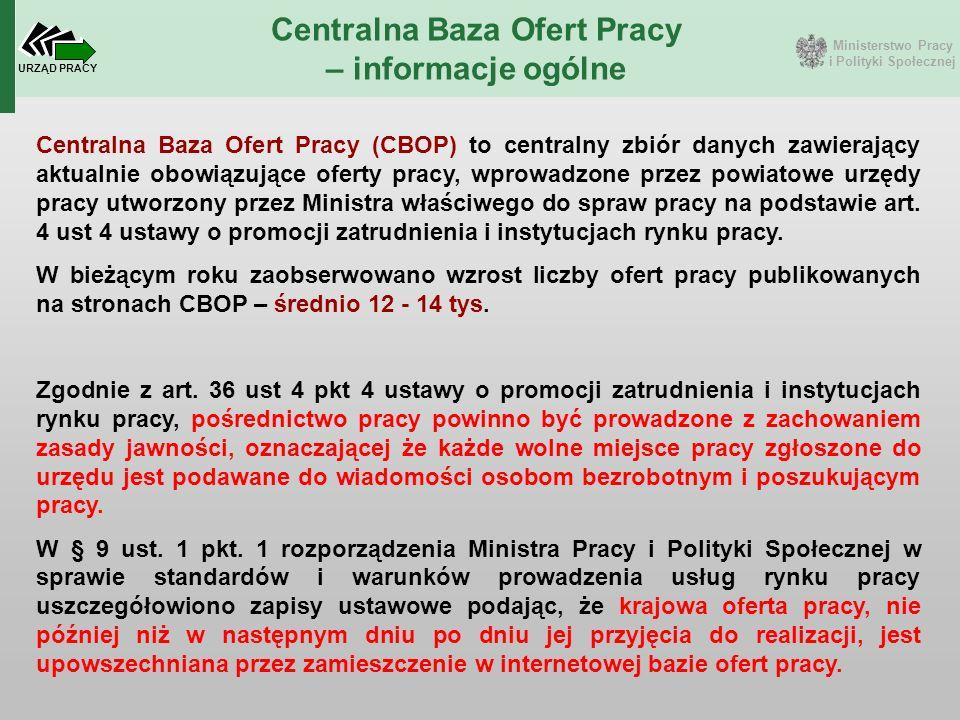 Ministerstwo Pracy i Polityki Społecznej URZĄD PRACY Centralna Baza Ofert Pracy – informacje ogólne Centralna Baza Ofert Pracy (CBOP) to centralny zbi