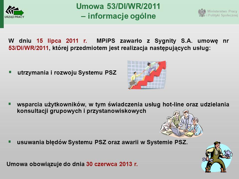 Ministerstwo Pracy i Polityki Społecznej URZĄD PRACY Umowa 53/DI/WR/2011 – informacje ogólne W dniu 15 lipca 2011 r. MPiPS zawarło z Sygnity S.A. umow