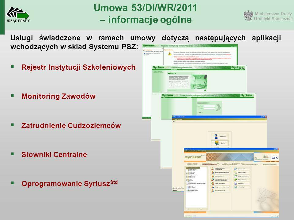 Ministerstwo Pracy i Polityki Społecznej URZĄD PRACY Umowa 53/DI/WR/2011 – informacje ogólne  Rejestr Instytucji Szkoleniowych  Monitoring Zawodów 