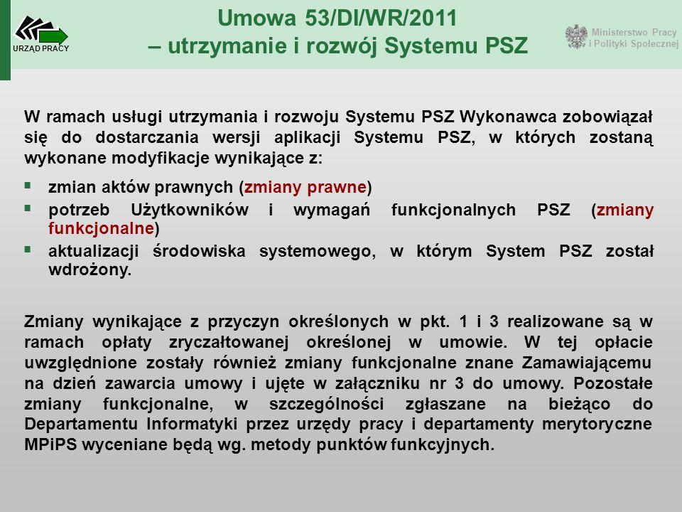 Ministerstwo Pracy i Polityki Społecznej URZĄD PRACY Umowa 53/DI/WR/2011 – utrzymanie i rozwój Systemu PSZ W ramach usługi utrzymania i rozwoju System