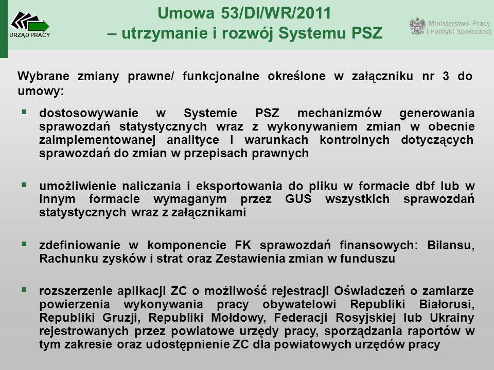 Ministerstwo Pracy i Polityki Społecznej URZĄD PRACY Umowa 53/DI/WR/2011 – utrzymanie i rozwój Systemu PSZ Wybrane zmiany prawne/ funkcjonalne określo