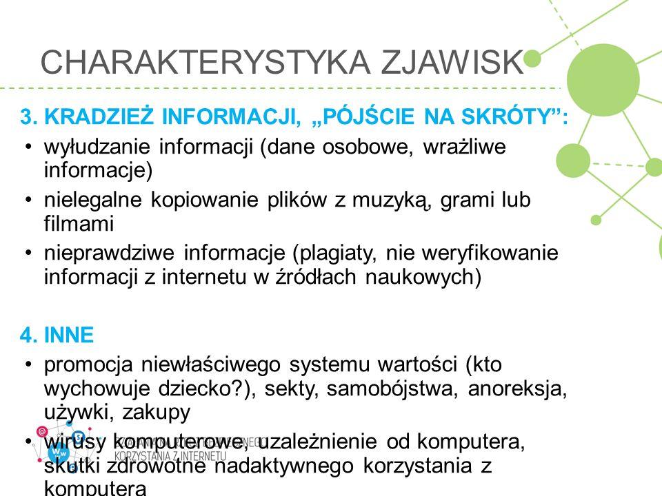 """3. KRADZIEŻ INFORMACJI, """"PÓJŚCIE NA SKRÓTY"""": wyłudzanie informacji (dane osobowe, wrażliwe informacje) nielegalne kopiowanie plików z muzyką, grami lu"""