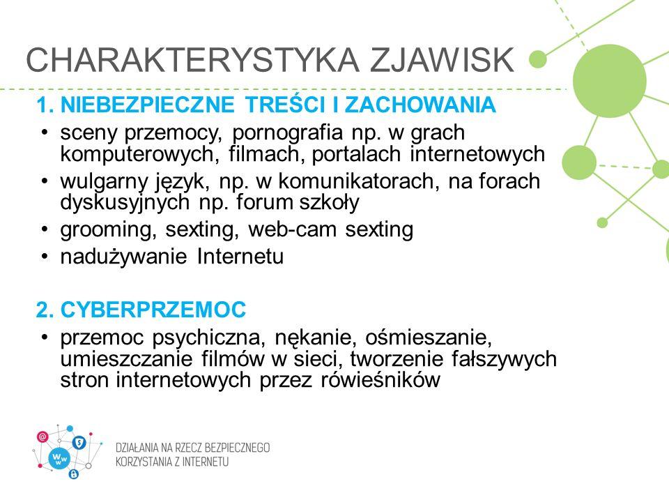 2.NIEBEZPIECZNE TREŚCI I ZACHOWANIA - cyberprzemoc – aspekt prawny W polskim kodeksie karnym stalking - zdefiniowany jako uporczywe, złośliwe nękanie mogące wywołać poczucie zagrożenia.