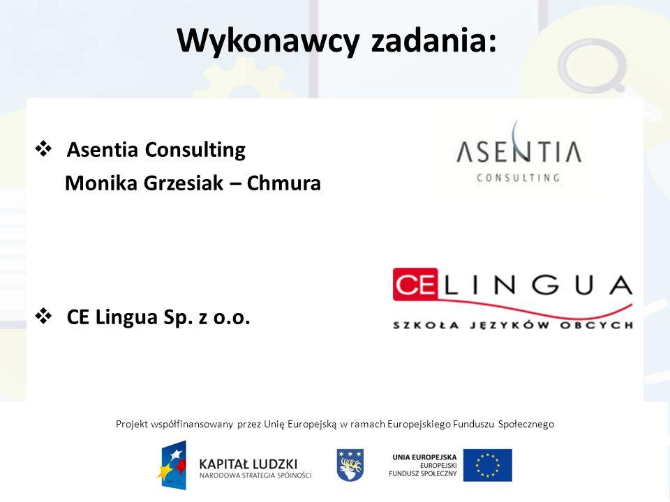 Wykonawcy zadania:  Asentia Consulting Monika Grzesiak – Chmura  CE Lingua Sp.