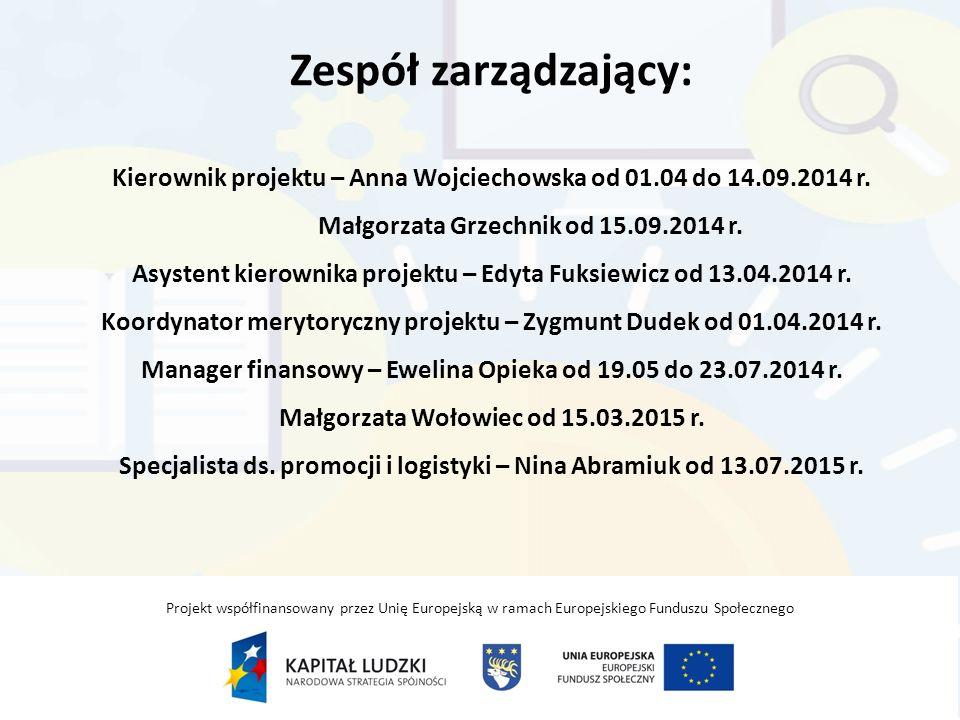 Zespół zarządzający: Kierownik projektu – Anna Wojciechowska od 01.04 do 14.09.2014 r.