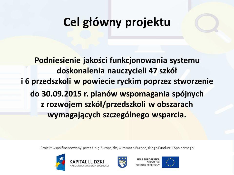 Cel główny projektu Podniesienie jakości funkcjonowania systemu doskonalenia nauczycieli 47 szkół i 6 przedszkoli w powiecie ryckim poprzez stworzenie do 30.09.2015 r.